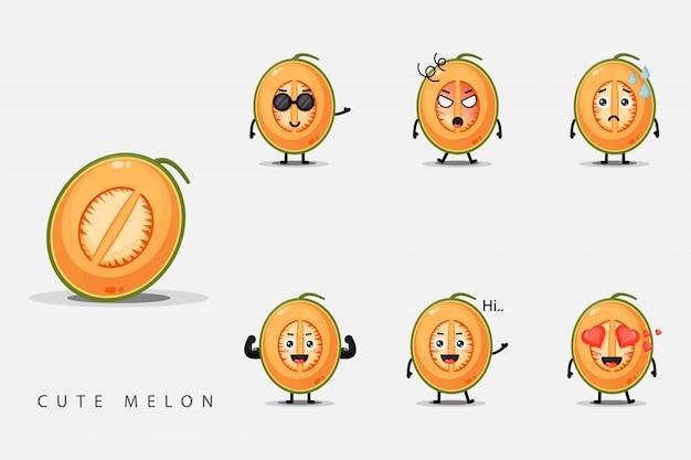 Conjunto de melões de personagem fofa