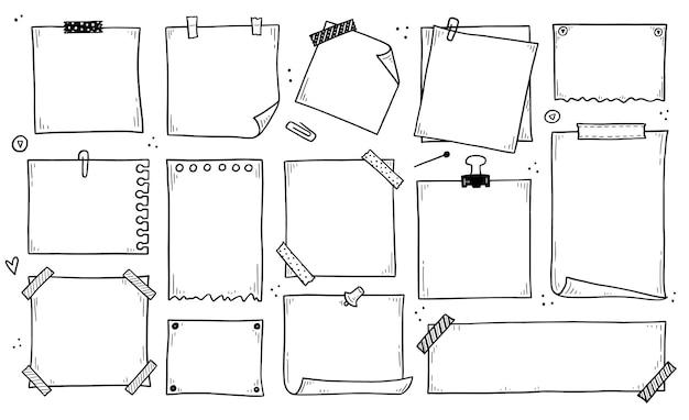 Conjunto de memorando de papel desenhado à mão rabisco pegajoso