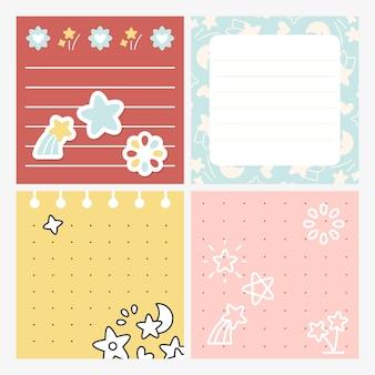 Conjunto de memorando design bonito estrela