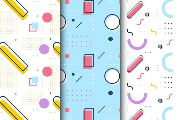 Conjunto de memphis colorido padrão