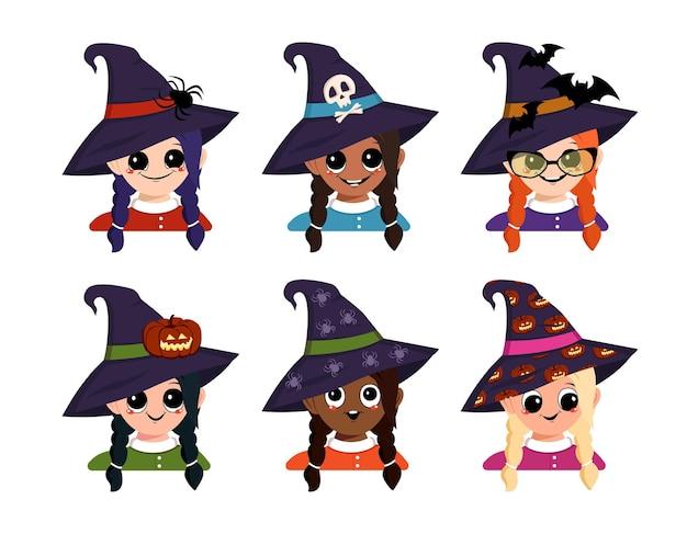 Conjunto de menina avatares de diferentes nacionalidades com olhos grandes e sorriso largo e feliz em bruxa pontiag ...