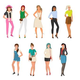 Conjunto de menina bonita e sexy em roupas da moda diferentes