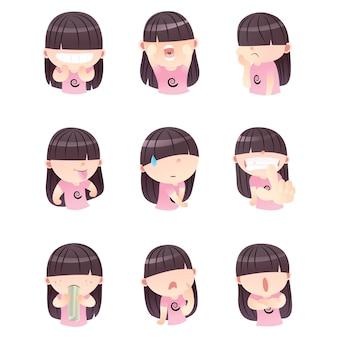 Conjunto de menina bonito dos desenhos animados