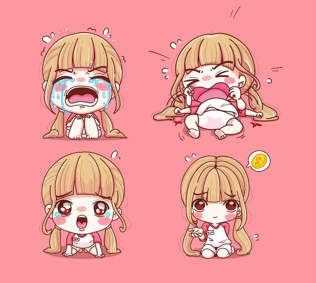 Conjunto de menina chorando e triste isolado em rosa