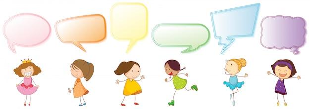 Conjunto de menina com balão de fala