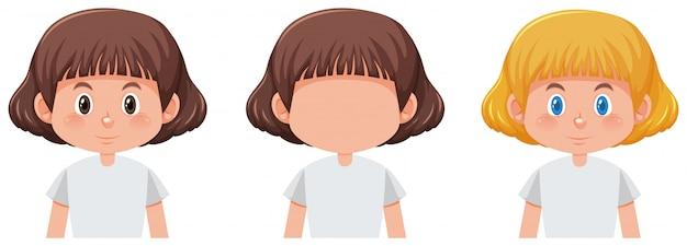 Conjunto de menina com cor de cabelo diferente