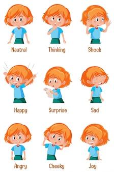 Conjunto de menina com diferentes expressões no rosto