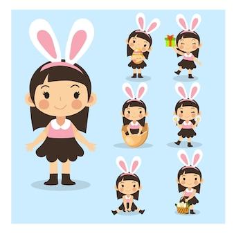 Conjunto de menina de fantasia de coelho
