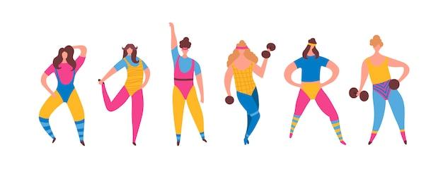 Conjunto de menina de mulher de anos 80 em traje de aeróbica fazendo formação de treino