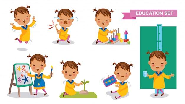 Conjunto de menina do jardim de infância. atividade estudantil e volta ao conceito de escola.