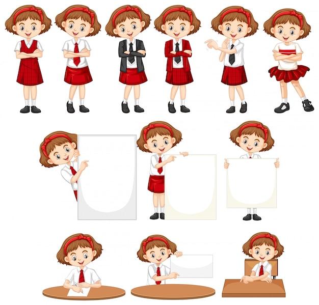 Conjunto de menina em uniforme escolar fazendo coisas diferentes