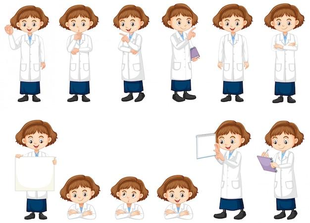 Conjunto de menina em vestido de ciência fazendo atos diferentes