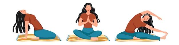 Conjunto de menina está envolvida em ioga.
