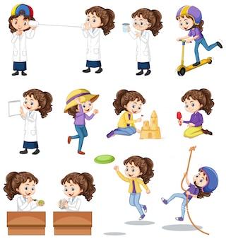 Conjunto de menina fazendo atividades diferentes em branco