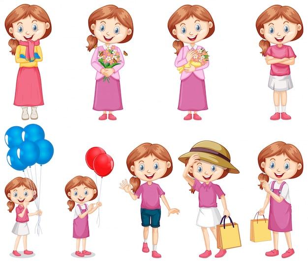 Conjunto de menina feliz em rosa, fazendo atividades diferentes