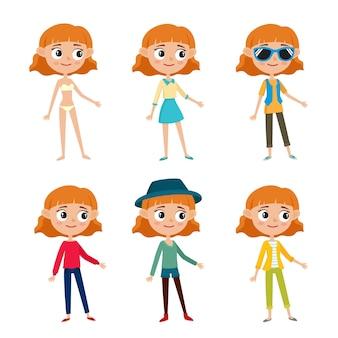 Conjunto de menina hippie em roupas elegantes, ilustrações de desenhos animados, isoladas no fundo branco. menina adolescente de cabelo vermelho encaracolado feliz.