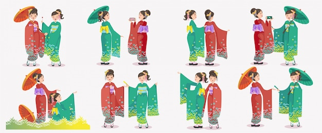 Conjunto de menina japonesa. quimono de mulheres japonesas vestindo vestido nacional. emoções e gestos do estilo retrô do japão.
