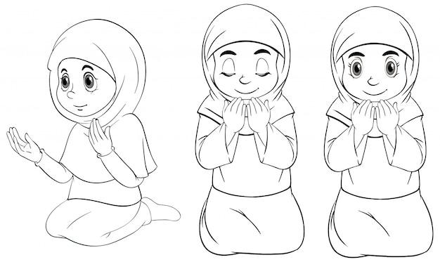 Conjunto de menina muçulmana árabe de posição diferente orando no contorno de roupas tradicionais