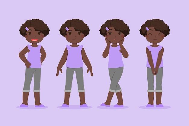 Conjunto de menina negra lisa orgânica em diferentes poses