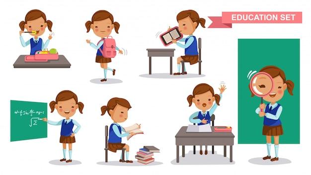 Conjunto de menina primária. atividade estudantil e volta ao conceito de escola.