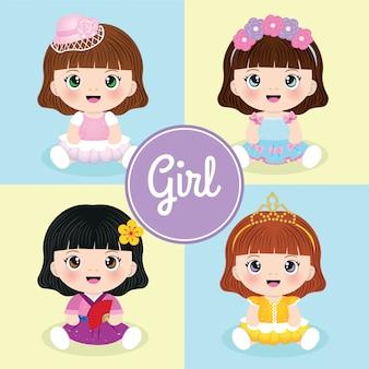 Conjunto de meninas bonito dos desenhos animados