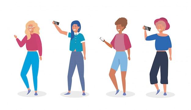 Conjunto de meninas com roupas casuais e smartphone selfie