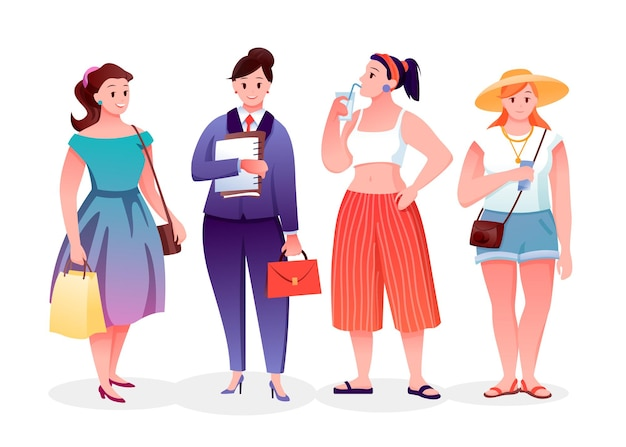 Conjunto de meninas da moda gordura positiva do corpo. desenho animado plus size jovem vestindo roupas casuais