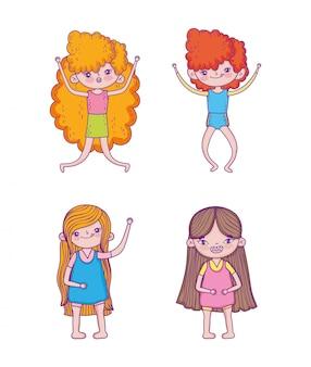 Conjunto de meninas de beleza com penteado e entretenimento de aventura