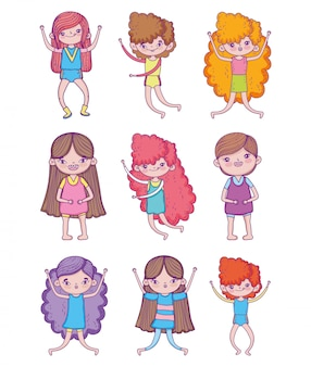 Conjunto de meninas de beleza e menino fofo com penteado