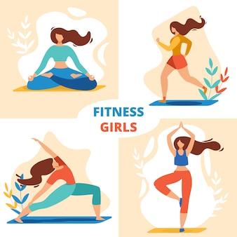 Conjunto de meninas de esporte fitness, desportistas meditando