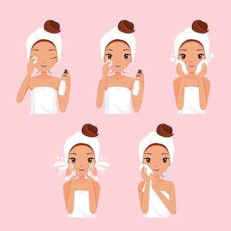 Conjunto de meninas de pele negra limpando e cuidando do rosto com várias ações
