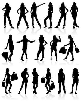 Conjunto de meninas de silhuetas