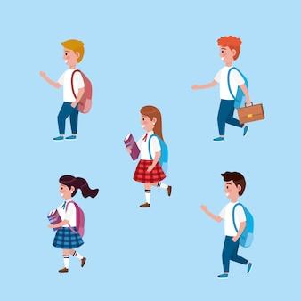 Conjunto de meninas e meninos estudantes com mochila e livros