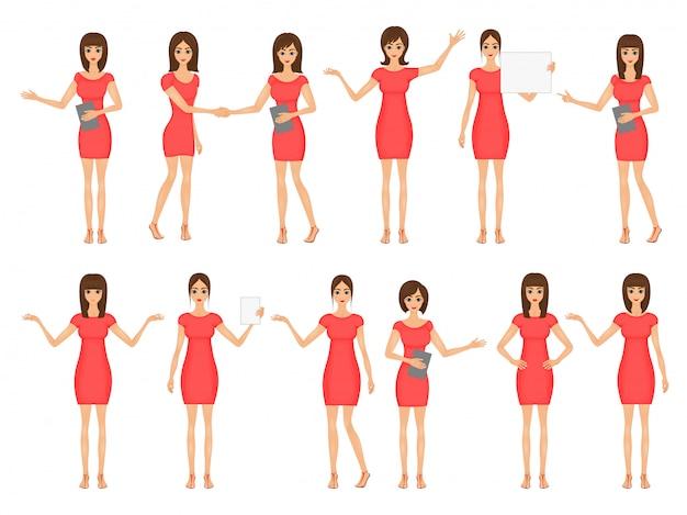 Conjunto de meninas em vestidos e sandálias. ilustração, de, mulheres negócio