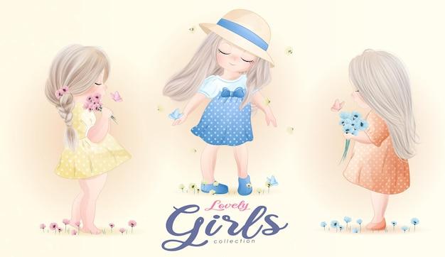 Conjunto de meninas lindas com ilustração em aquarela