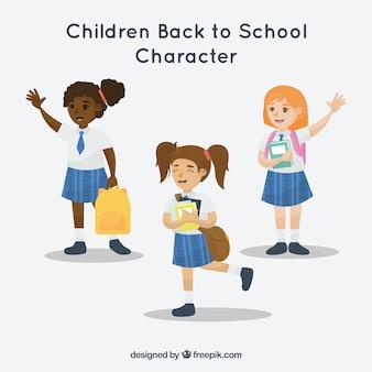 Conjunto de meninas que usam uniforme escolar