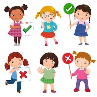 Conjunto de meninas segurando e fazendo sinais de certo e errado