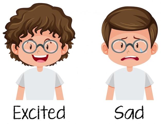 Conjunto de menino animado e triste