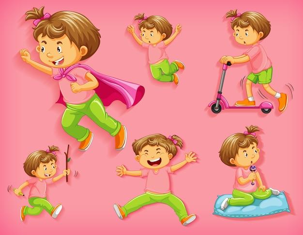 Conjunto de menino bonito com diferentes posições isoladas