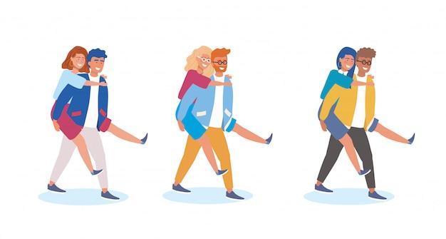 Conjunto de menino carregando a garota nas costas