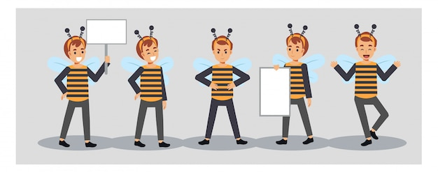 Conjunto de menino com fantasia de abelha. um menino segurando cartaz em branco.