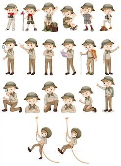Conjunto de menino com roupa de safari, fazendo ações diferentes