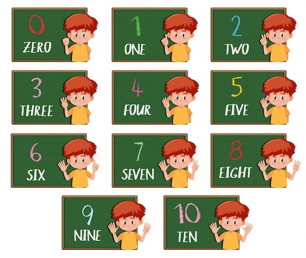 Conjunto de menino contando o número