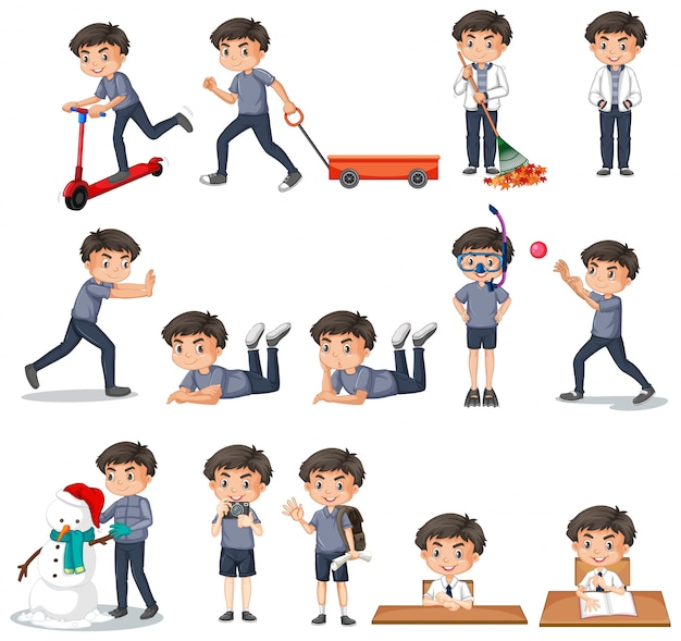 Conjunto de menino de camisa cinza, fazendo atividades diferentes
