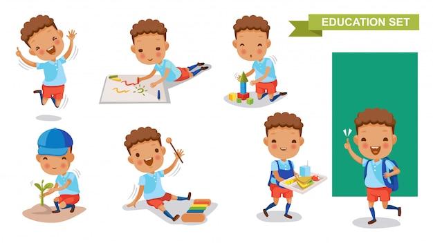 Conjunto de menino de jardim de infância. atividade estudantil e volta ao conceito de escola.