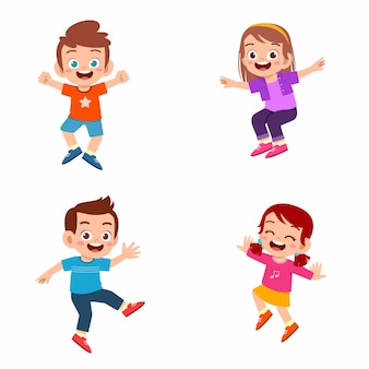 Conjunto de menino e menina feliz criança fofa pular e sorrir