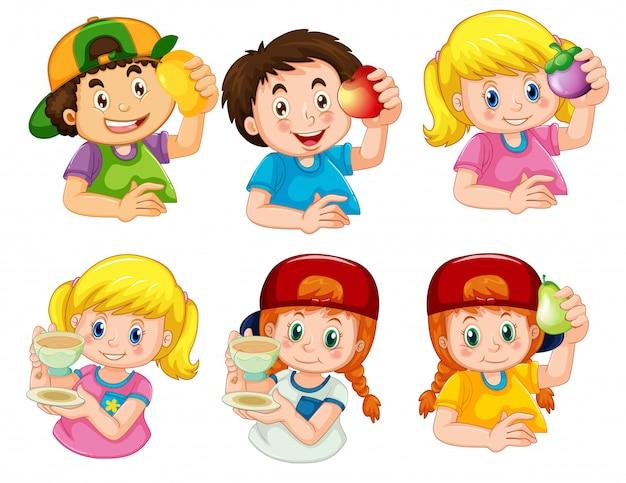 Conjunto de menino e menina personagem