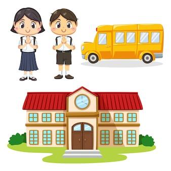 Conjunto de menino e menina vestindo o aluno de uniforme e bolsa escolar