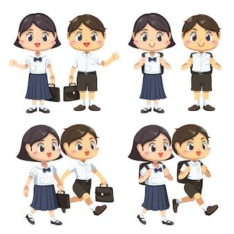 Conjunto de menino e menina vestindo um aluno de uniforme segurando uma bolsa escolar