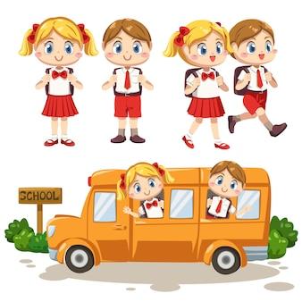 Conjunto de menino e menina vestindo uniforme de estudante e bolsa escolar, caminhando e sentando-se no ônibus escolar